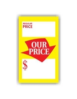 """Regular Price Our Price"", 2.25 x 3.75in., Square Cut, 250 per shrink pack"
