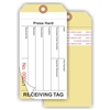 "RECEIVING TAG, Numbered, Adhesive Strip, 6.25"" x 3.125"", Manila Paper,2 Part, Plain, Pack of 100"