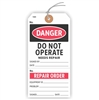 "DANGER, Do Not Operate, needs repair, 5.75"" x 2.875"", White Paper,1 Stub, Looped String, Pack of 100"