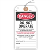 "DANGER, Do Not Operate, This Tag has been Attached Because…, 5.75"" x 2.875"", White Paper,1 Stub, Looped String, Pack of 100"