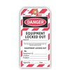 "DANGER, Equipment Locked Out, 5.75"" x 2.875"", White Paper, Looped String, Pack of 100"