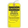 "CAUTION, DO NOT OPERATE, This Caution Tag has been attached because…, 5.75"" x 2.875"", Yellow Paper,1 Stub, Looped String, Pack of 100"