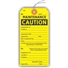 "CAUTION, MAINTENANCE, 5.75"" x 2.875"", Yellow Paper,1 Stub, Looped String, Pack of 100"