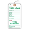 "TOOL LOANED, TOOL RETURNED, Numbered 2 Places, 5.75"" x 2.875"", White Paper,1 Stub, Looped String, Pack of 100"