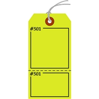 "Claim Check/Tag, Numbered 2 Places, 5.75"" x 2.875"", Fluorescent Yellow Paper,2 Part, Looped String, Pack of 100"