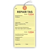 "Repair Tag, Numbered 2 Places, 5.75"" x 2.875"", Manila Paper,2 Part, Looped String, Pack of 100"