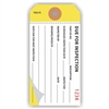 "Due for Inspection, 4.75"" x 2.375"", White on Yellow Paper,2-Ply, Plain, Pack of 100"