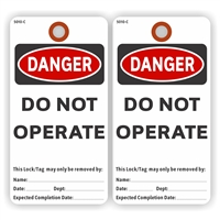 "DANGER, Do Not Operate, 5.75"" x 3"", White Paper,2 Sided, Plain, Pack of 100"