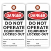 "DANGER, Do Not Operate, Equipment Locked Out, 5.75"" x 3"", White Paper,2 Sided, Plain, Pack of 100"