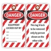 "DANGER, EQUIPMENT LOCKED OUT BY, 5.75"" x 3"", White Paper, Plain, Pack of 100"