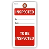 "INSPECTED / TO BE INSPECTED, 5.75"" x 3"", White Paper,1 Stub, Plain, Pack of 100"