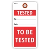 "TESTED / TO BE TESTED, 5.75"" x 3"", White Paper,1 Stub, Plain, Pack of 100"