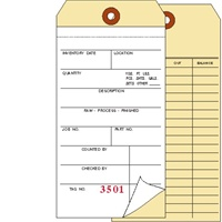 Inventory Tag, 2 Ply Carbonless, 2 Sided, Box of 500, Choose Your Sequence Numbers