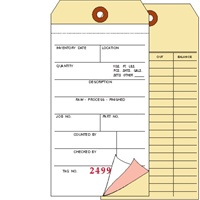 Inventory Tag, 3 Ply Carbonless, 2 Sided, Box of 500, Back Printed, Choose Your Sequence Numbers