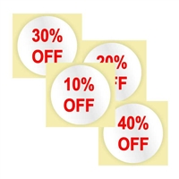 """Percent OFF"", 3/4 in. Circle, Red, Roll of 1000"