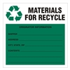 "Materials for Recycle,  6"" x 6"", Paper, Pack of 100"