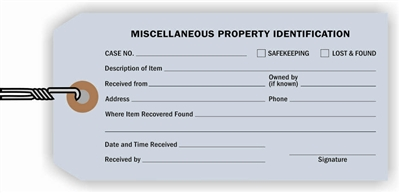 """Miscellaneous Property"", 2.375 x 5.25 in., 13Pt Light Blue paper, Strung, 100 per shrink pack"