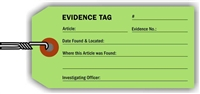 """Evidence Tag"", 2.125 x 4.25 in., 13Pt Light Green paper, Wired, 100 per shrink pack"