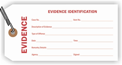 """Evidence Identification"", 3.125 x 6.25 in., 12Pt White paper, Wired, 100 per shrink pack"