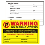 "WARNING, No Parking - Towing, 8"" x 5"", Scrape to Remove, 50 per Pack"