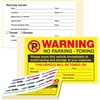"WARNING, No Parking - Towing, 8"" x 5"", Scrape to Remove, 50 per Book"