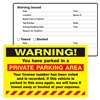 "WARNING, ...Parked in a Private..., 8"" x 5"", Scrape to Remove, 50 per Pack"
