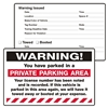 "WARNING, ...Parked in a Private..., 8"" x 5"", Peel to Remove, 50 per Pack"