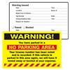 "WARNING, ...Parked in a No Parking..., 8"" x 5"", Scrape to Remove, 50 per Pack"