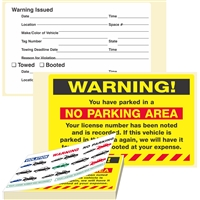 "WARNING, ...Parked in a No Parking..., 8"" x 5"", Scrape to Remove, 50 per Book"