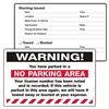"WARNING, ...Parked in a No Parking..., 8"" x 5"", Peel to Remove, 50 per Pack"