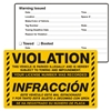 "VIOLATION / INFRACCÓN, ...Parked Illegally, 8"" x 5"", Scrape to Remove, 50 per Pack"