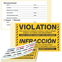 "VIOLATION / INFRACCÓN, ...Parked Illegally, 8"" x 5"", Scrape to Remove, 50 per Book"