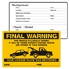 "FINAL WARNING, …Illegally Parked, 8"" x 5"", Scrape to Remove, 50 per Pack"
