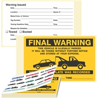 "FINAL WARNING, …Illegally Parked, 8"" x 5"", Scrape to Remove, 50 per Book"