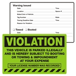 "VIOLATION, This Vehicle is Parked Illegally, 8"" x 5"", Scrape to Remove, 50 per Pack"
