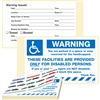 "WARNING, …Reserved for the Handicapped, 8"" x 5"", Peel to Remove, 50 per Book"