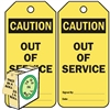 "<!010>Caution Out of Service, 6-1/4"" x 3"", Yellow Polypropylene, In-a-Box of 100"