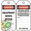 "<!010>DANGER, Equipment Needs Repair, 6-1/4"" x 3"", White Polypropylene, In-a-Box of 100"