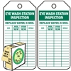 "<!0120>Eye Wash Station Inspection Tag,  6-1/4"" x 3"", White Polypropylene, In-a-Box of 100"