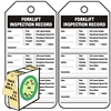 "<!010>Forklift Inspection Record, 6-1/4"" x 3"", White Polypropylene, In-a-Box of 100"