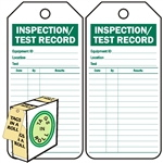 "<!010>Inspection / Test Record, 6-1/4"" x 3"", White Polypropylene, In-a-Box of 100"