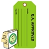 "<!0120>Q.A. Approved,  6-1/4"" x 3"", Fluorescent Green, In-a-Box of 100"