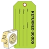 "<!0120>RETURNED GOODS,  6-1/4"" x 3"", Fluorescent Green, In-a-Box of 100"