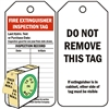 "<!0120>Fire Extinguisher Inspection Tag,  6-1/4"" x 3"", White Polypropylene, In-a-Box of 100"