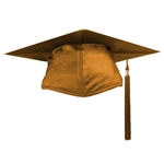Shiny Antique Gold Graduation Cap and Tassel