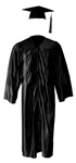 Shiny Black Cap, Gown & Tassel