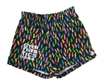 Black Lightning bolt gymnastic imprinted soffee shorts