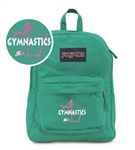 Gymnastics Bars small teal Jansport embroidered book bag