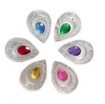 "Double Teardrop Gems, 1"", Mixed Colors, 10 pcs."