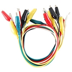 72-111 Alligator Clip Lead Set, Multi-Color Insulated Contains 2 Black, Red, Yellow, Green & White - Packaged